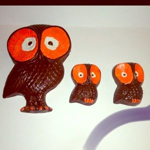 Modern Vintage Chalkware Owl Wall Decor